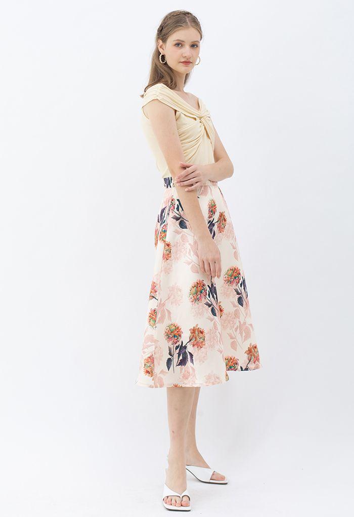 Morning Dahlia Printed A-Line Midi Skirt