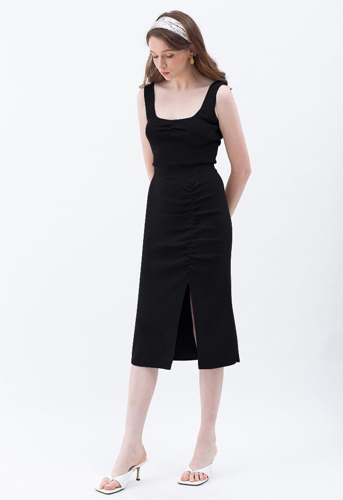 Ruched Front Slit Knit Pencil Skirt in Black