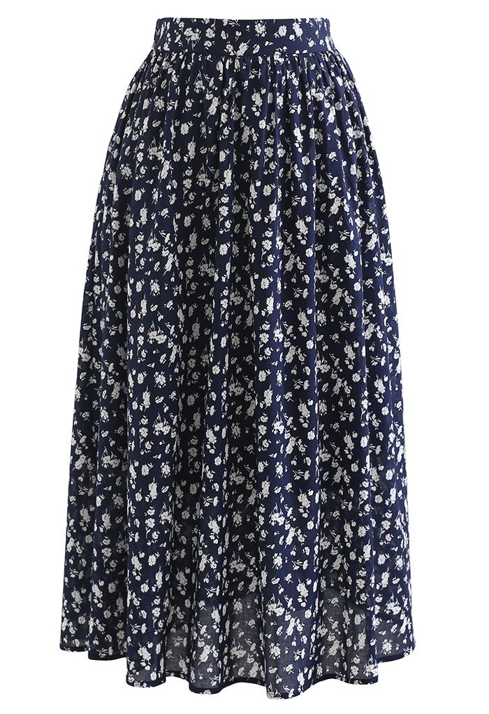 Flowery Land Ruched Crop Top and Midi Skirt Set in Navy