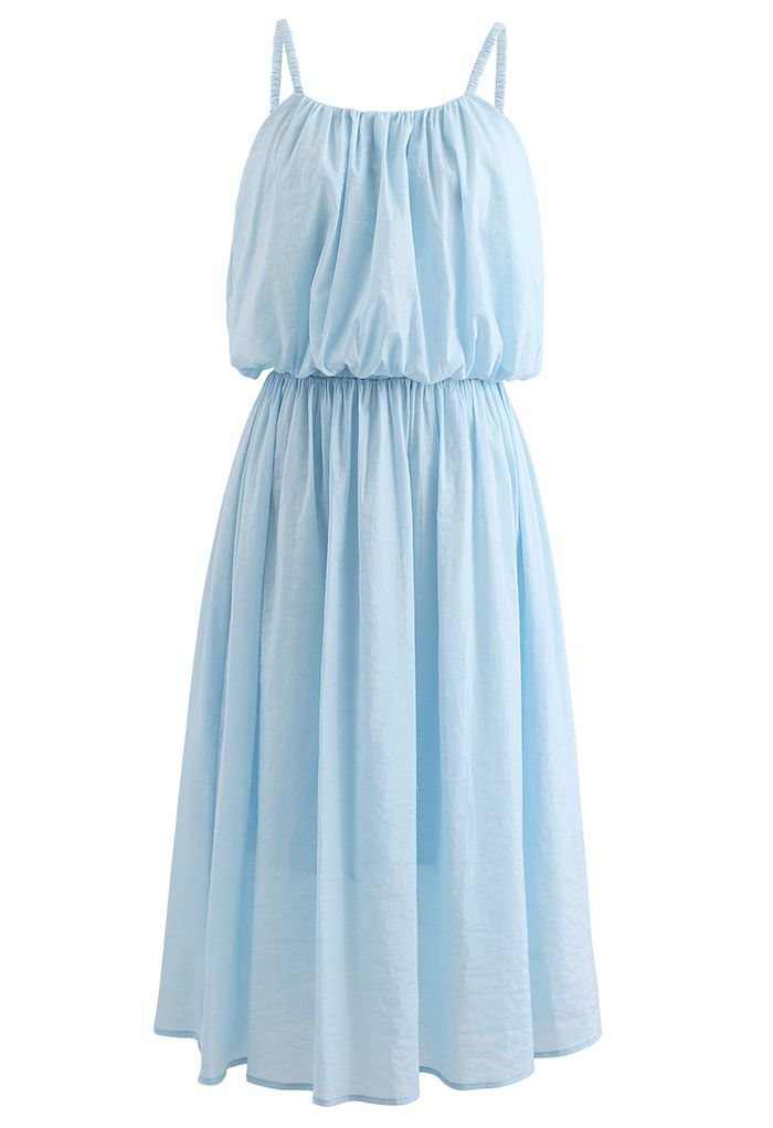 Pastel Color Cami Crop Top and Midi Skirt Set in Blue