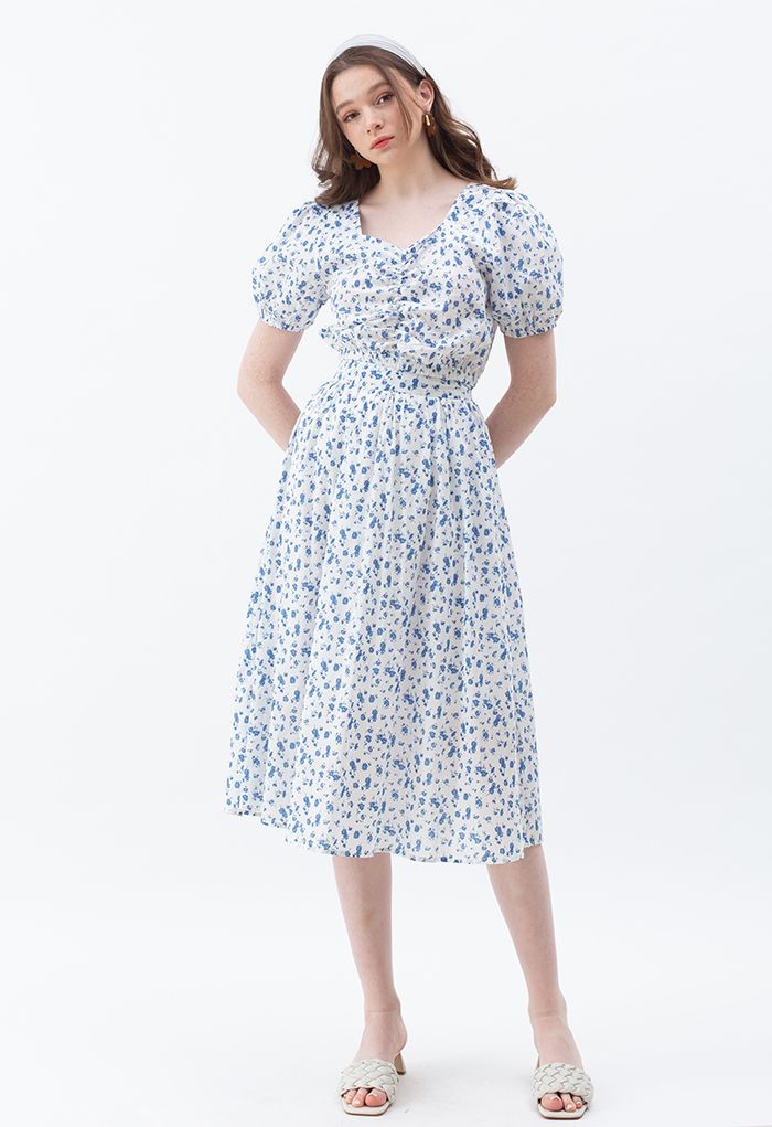 Flowery Land Ruched Crop Top and Midi Skirt Set in White