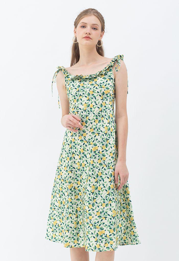 Tropical Fruit Ruffle Neck Cami Dress in Green