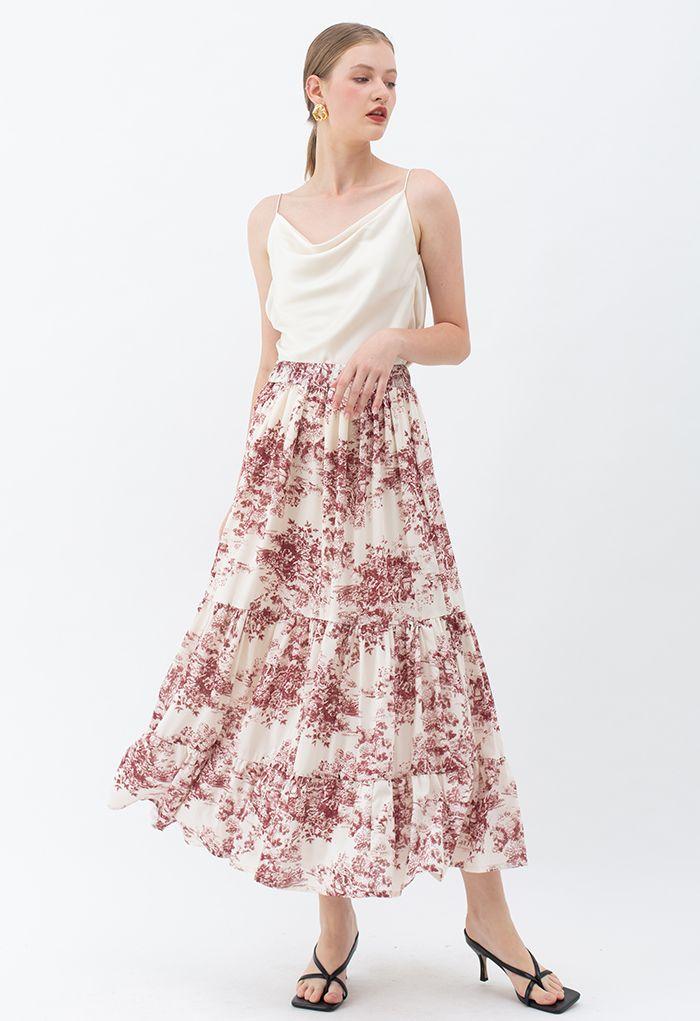 Sketch Pine Frill Hem Maxi Skirt