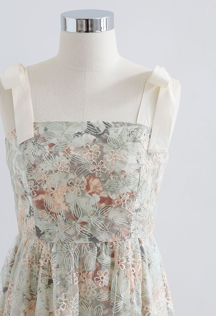Tie Shoulder Floral Embroidered Mesh Overlay Dress