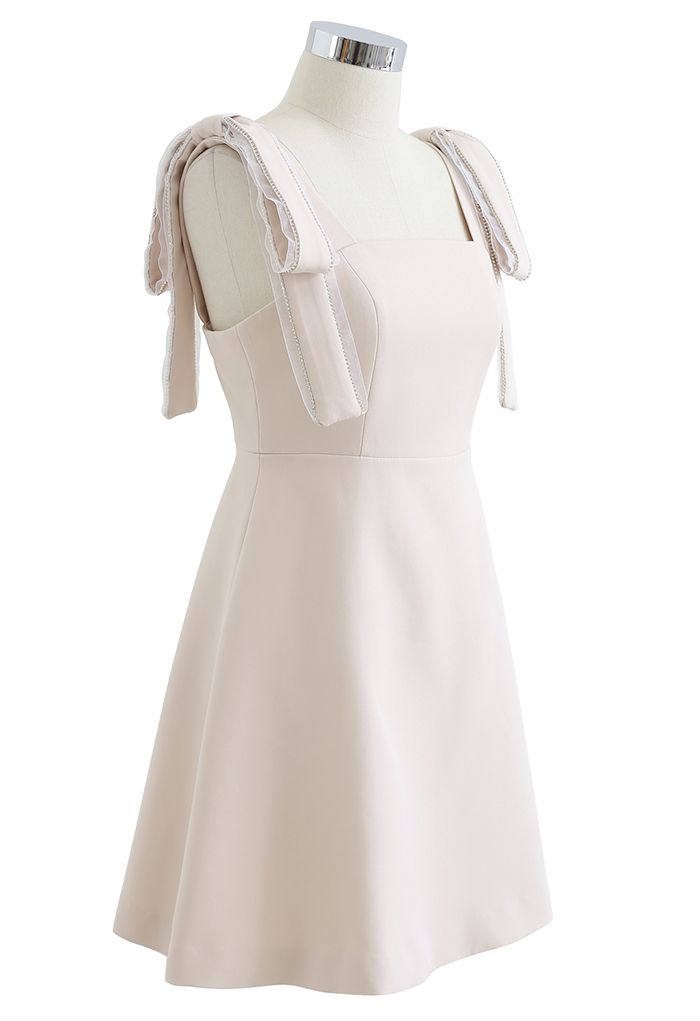 Bowknot Shoulder Crystal Edge Mini Dress in Cream
