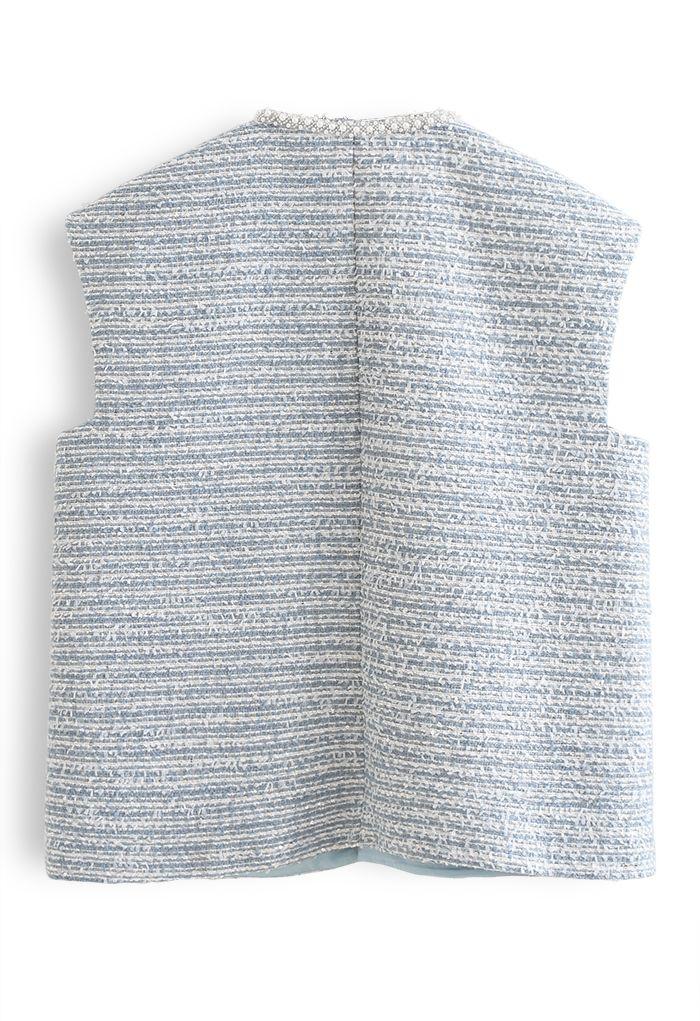 Pearly Edge Pocket Tweed Vest Jacket in Blue