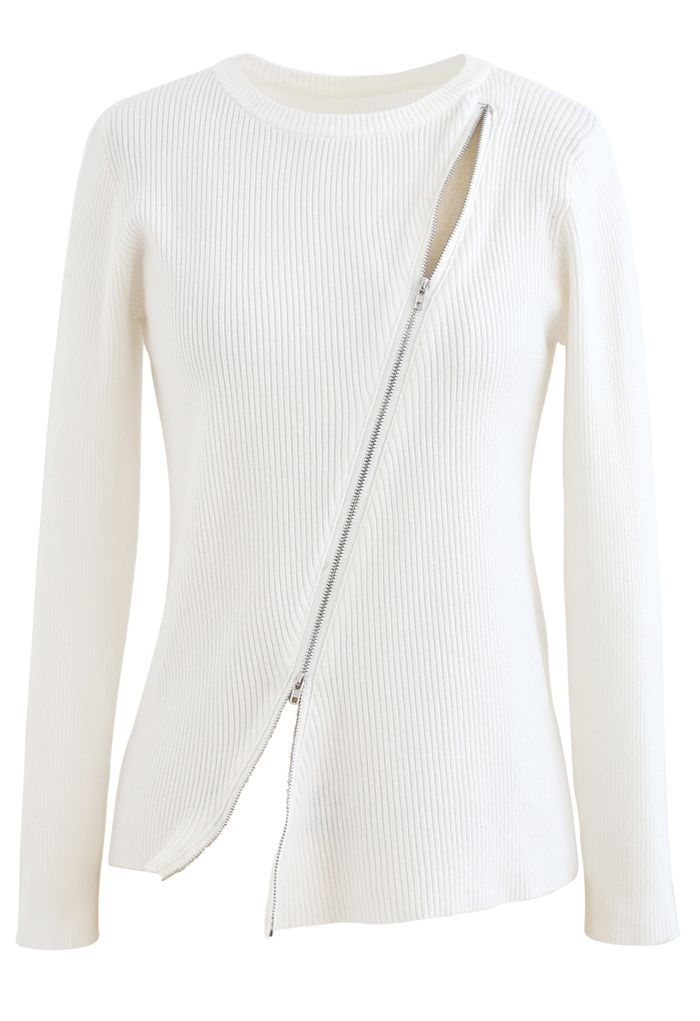 Zipper Up Ribbed Knit Top in White
