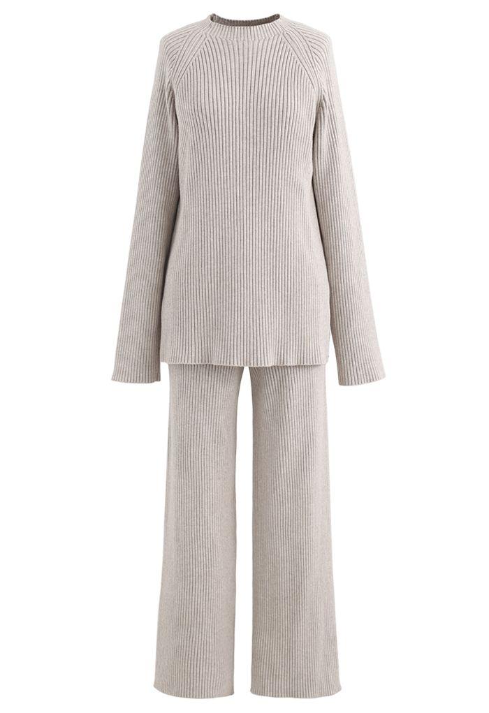 Rib Knit Split Hem Sweater and Pants Set in Sand
