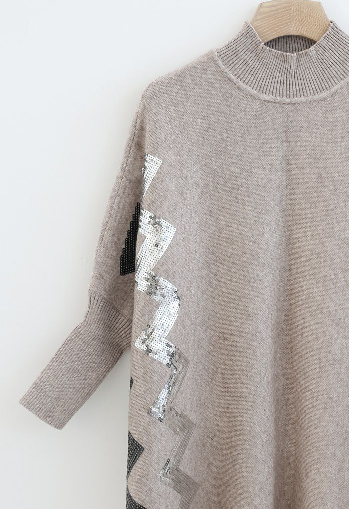 Zigzag Sequins Knit Cape Sweater in Light Tan