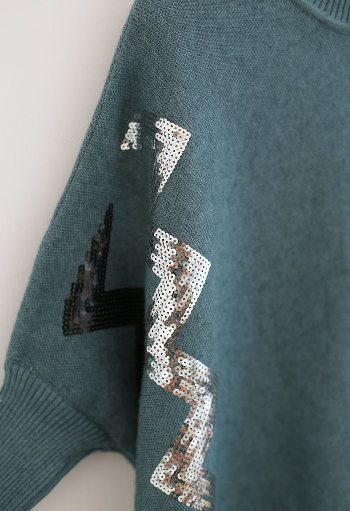Zigzag Sequins Knit Cape Sweater in Teal