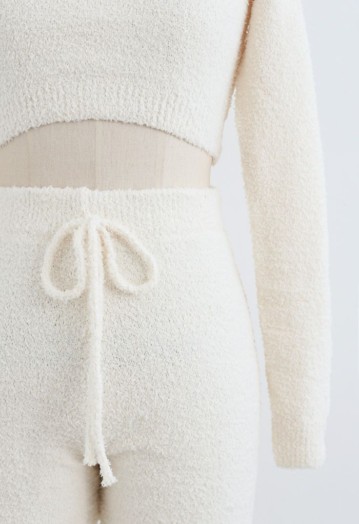 Fluffy Knit Crop Top and Drawstring Joggers Set in Cream