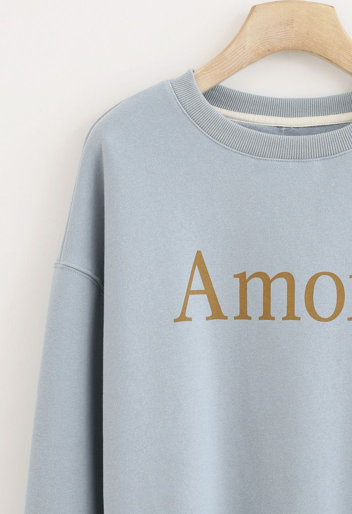 Amore Printed Fleece Sweatshirt in Blue