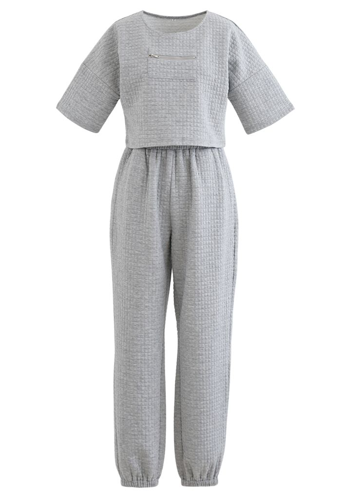 Quilted Zipper Crop Top and Joggers Set in Grey