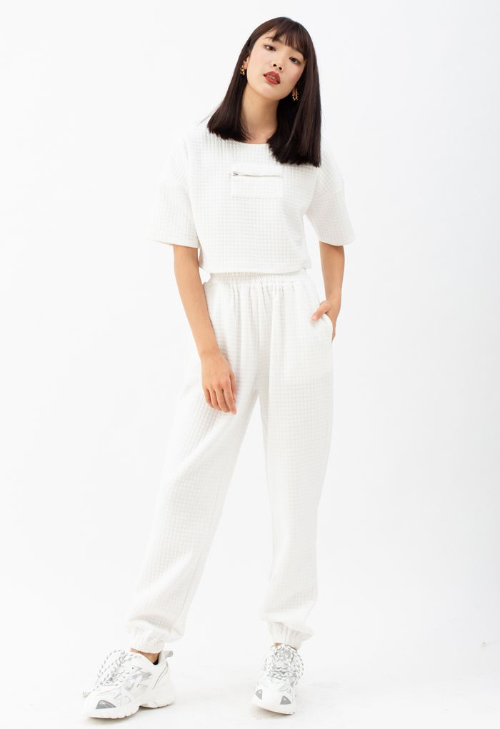 Quilted Zipper Crop Top and Joggers Set in White