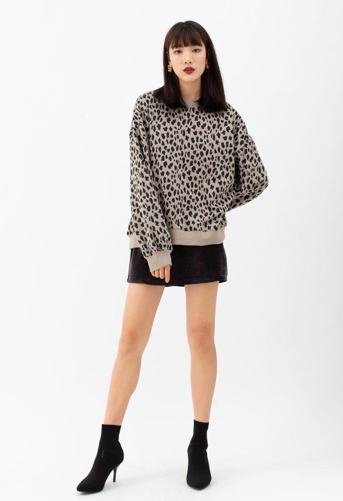 Leopard Print Round Neck Sweatshirt in Tan
