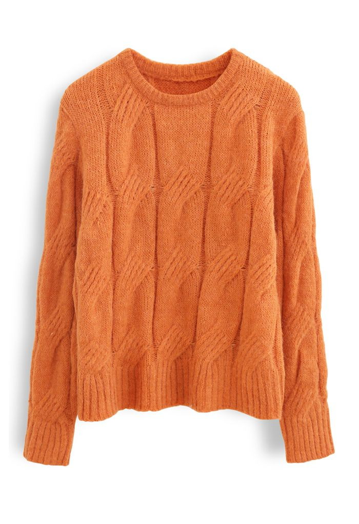 Fuzzy Crew Neck Cable Knit Sweater in Orange