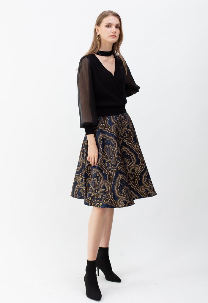 Embroidered Jacquard Floral Flare Midi Skirt
