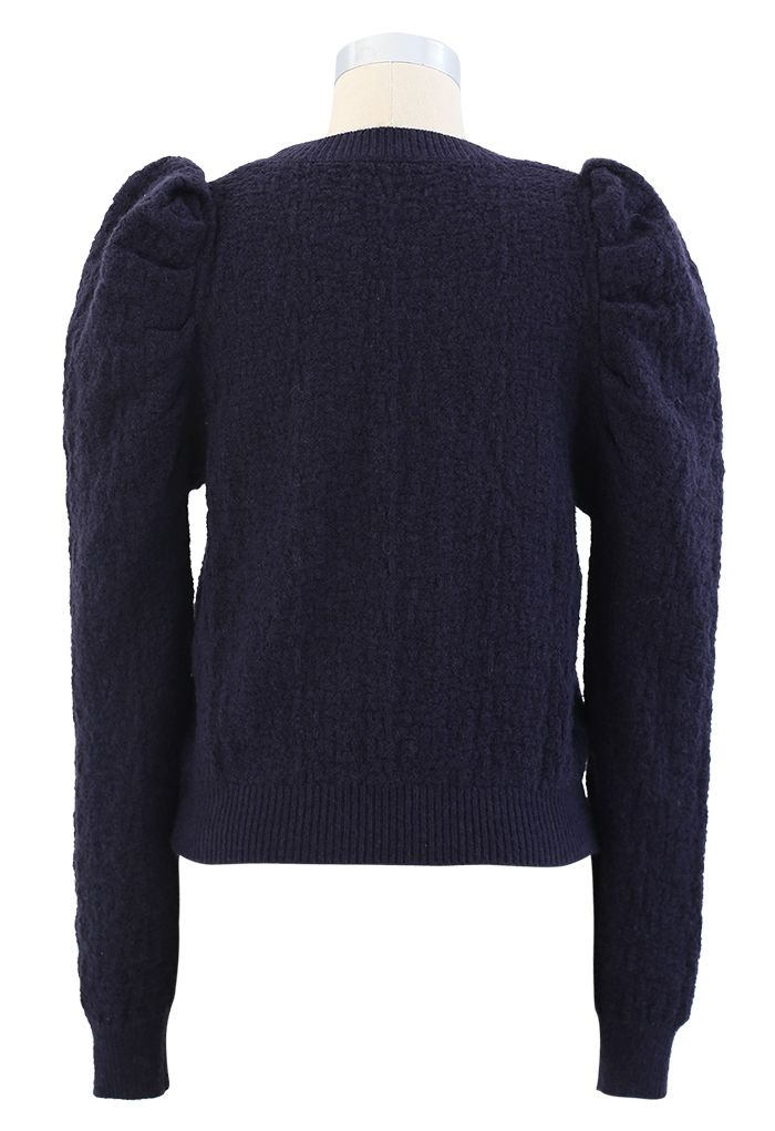 Puff-Shoulder Texture Knit Sweater in Navy