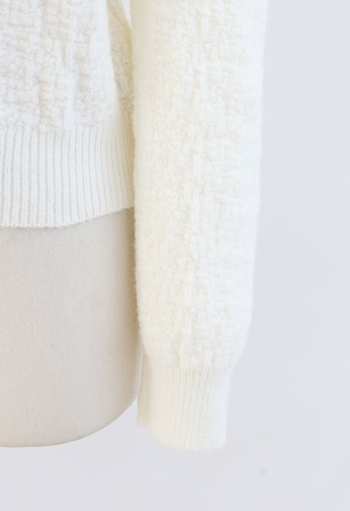 Puff-Shoulder Texture Knit Sweater in Cream