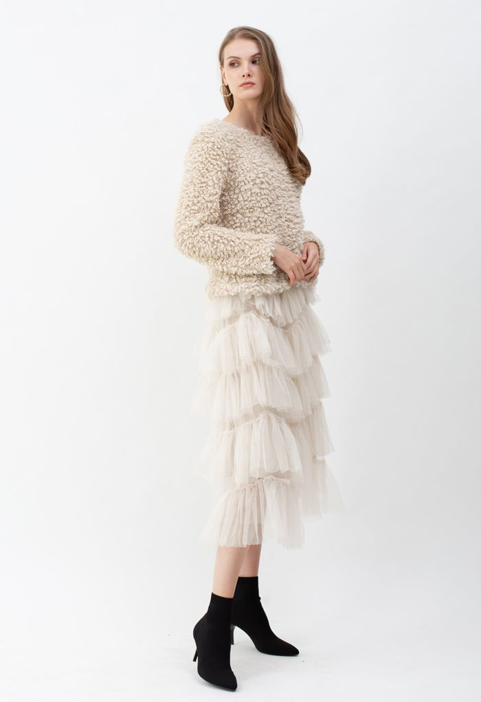 Ruffle Tiered Tulle Mesh Maxi Skirt in Cream