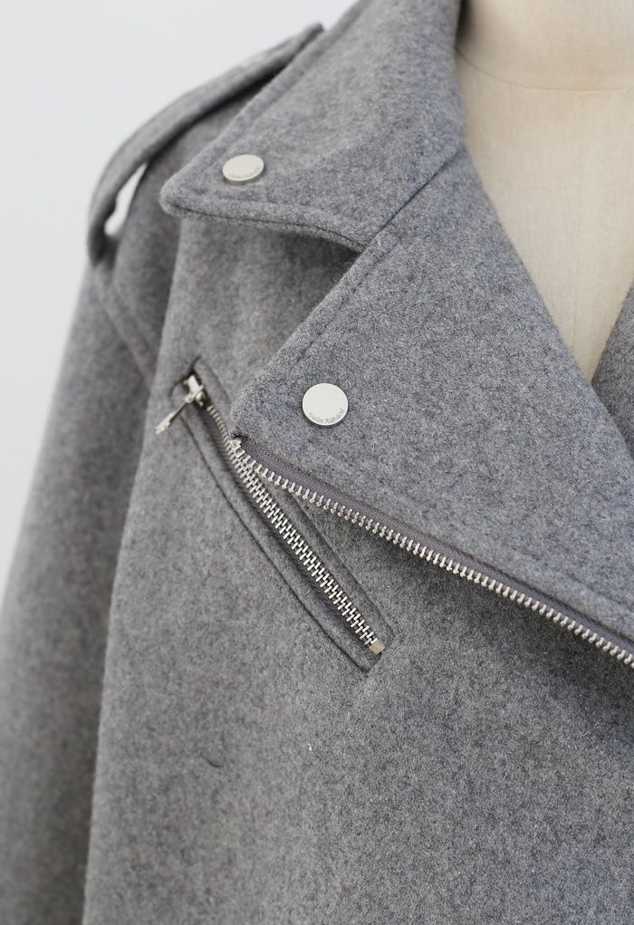 Wool-Blend Zipper Moto Jacket in Grey