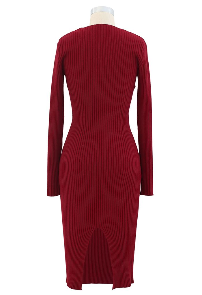 Surplice Wrap Front Ribbed Knit Dress in Red