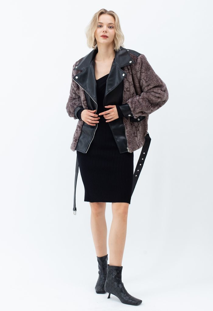 Quilted Leather Animal Faux Fur Jacket