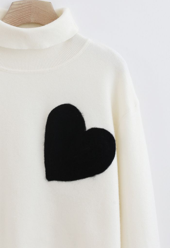 Embroidered Heart High Neck Knit Sweater in Ivory