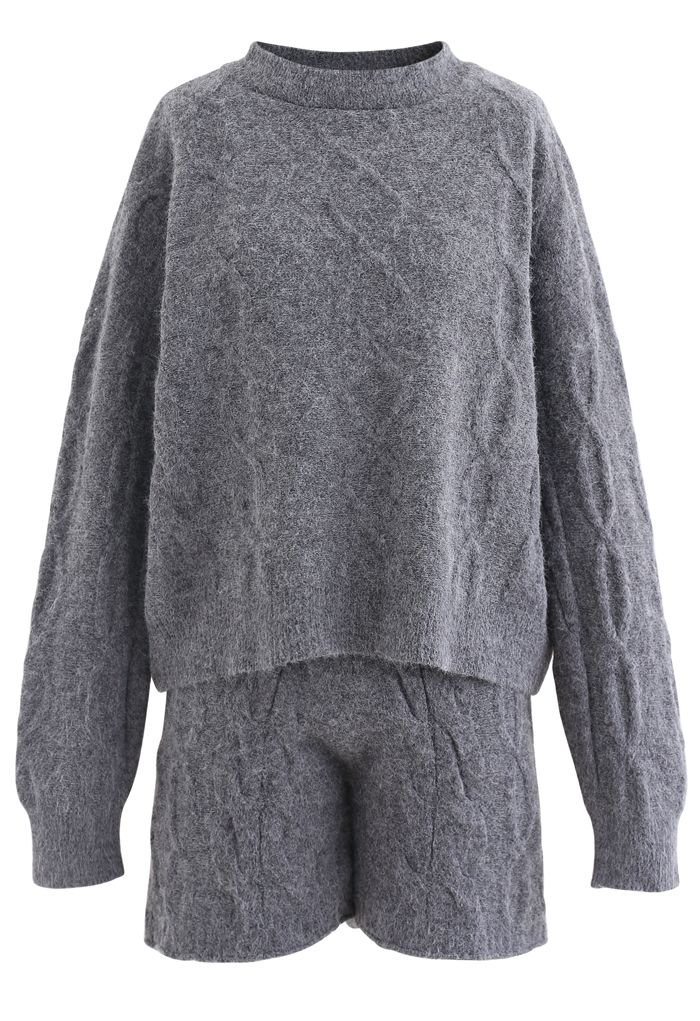 Cable Knit Sweater and Shorts Set in Grey
