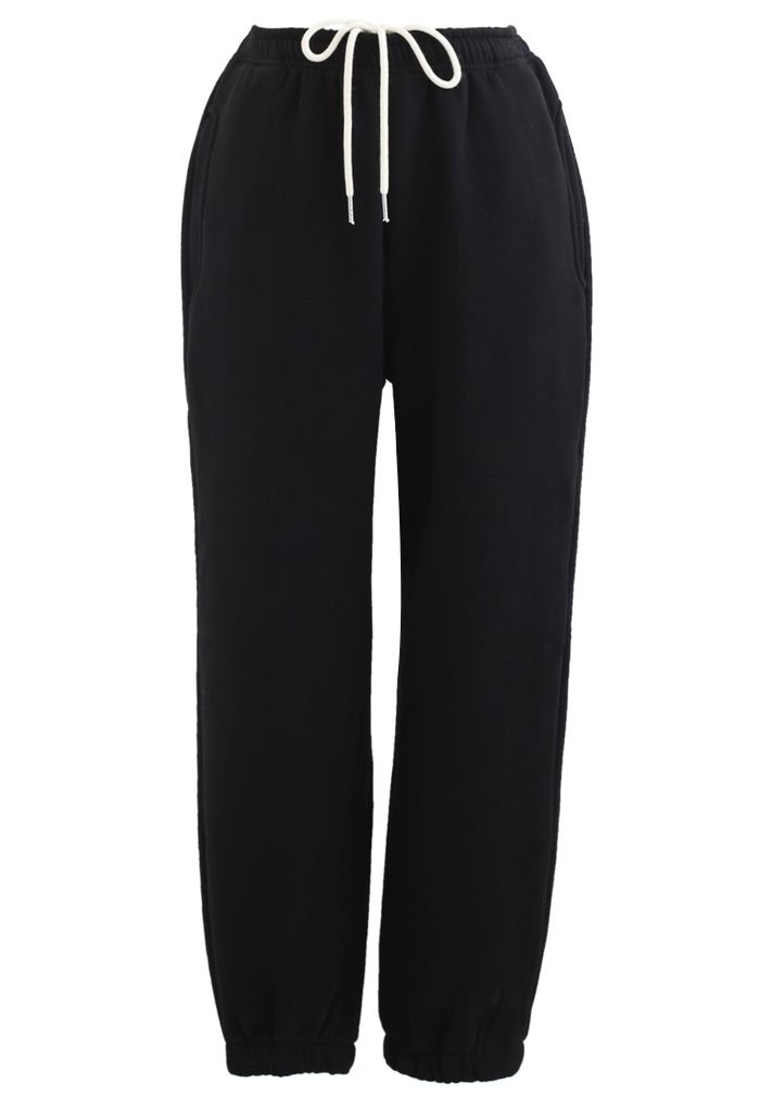 Twisted Crop Sweatshirt and Joggers Set in Black