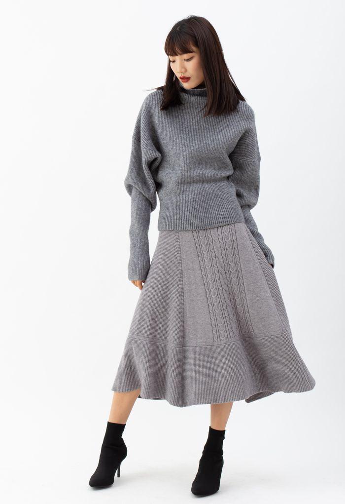 Braid Texture Soft Knit A-Line Midi Skirt in Grey