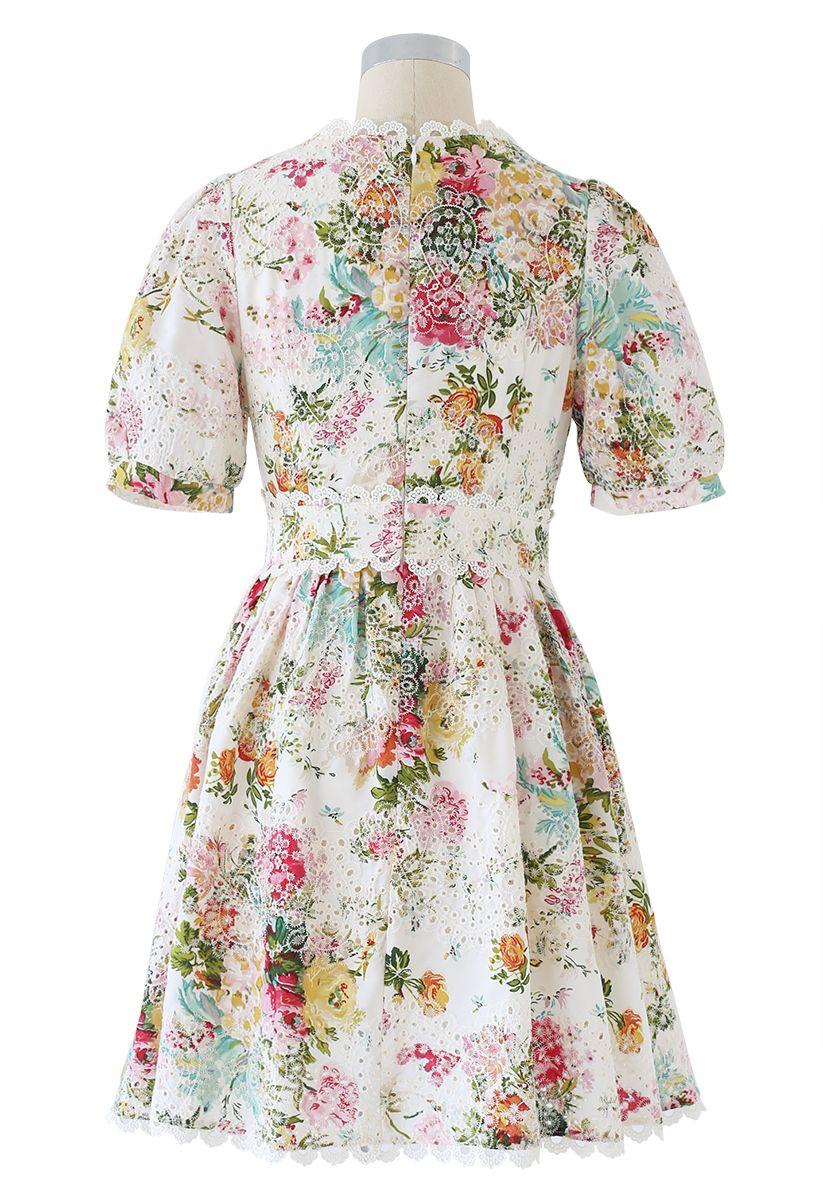 Vivid Flower Buttoned Crochet Embroidered Dress