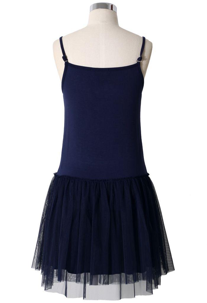 Vestido de Tul Estilo Ballet en Azul Marino