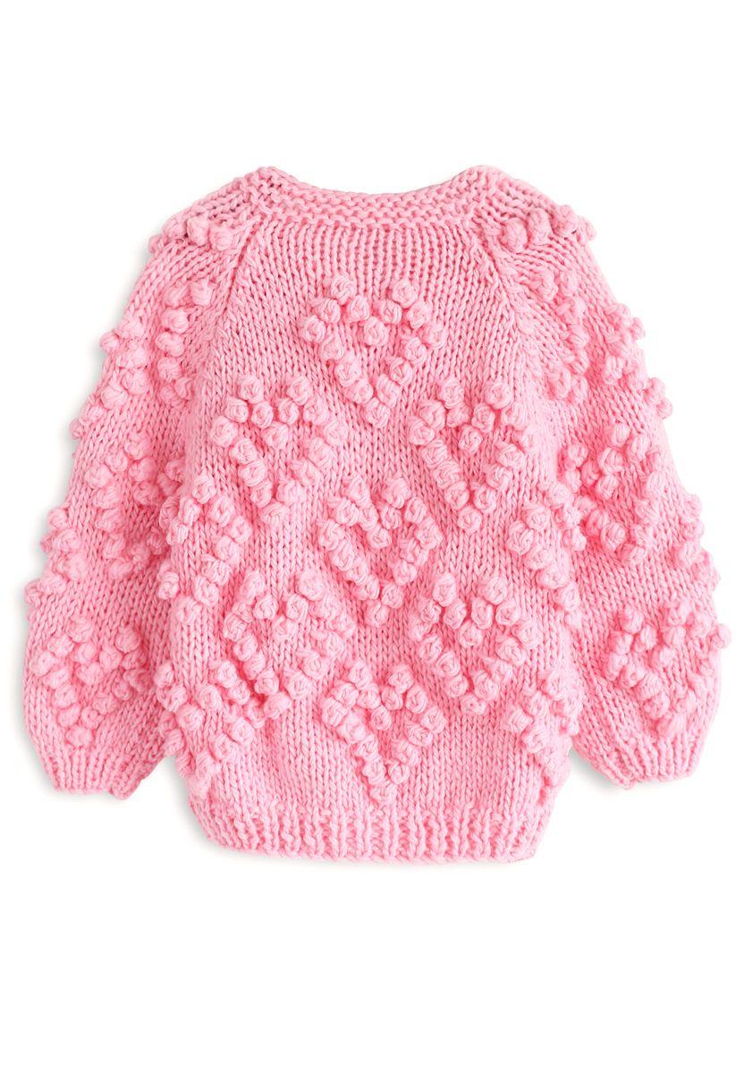 Cárdigan de punto de amor en rosa intenso para niños