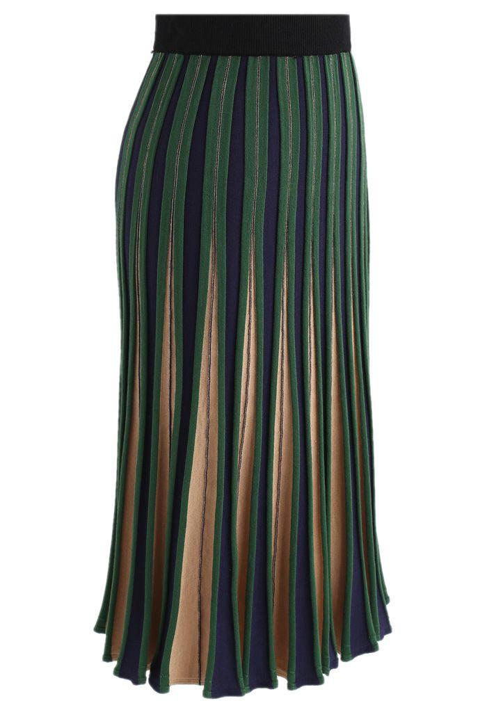 Radiante Falda de Punto Línea A Color Verde A Rayas
