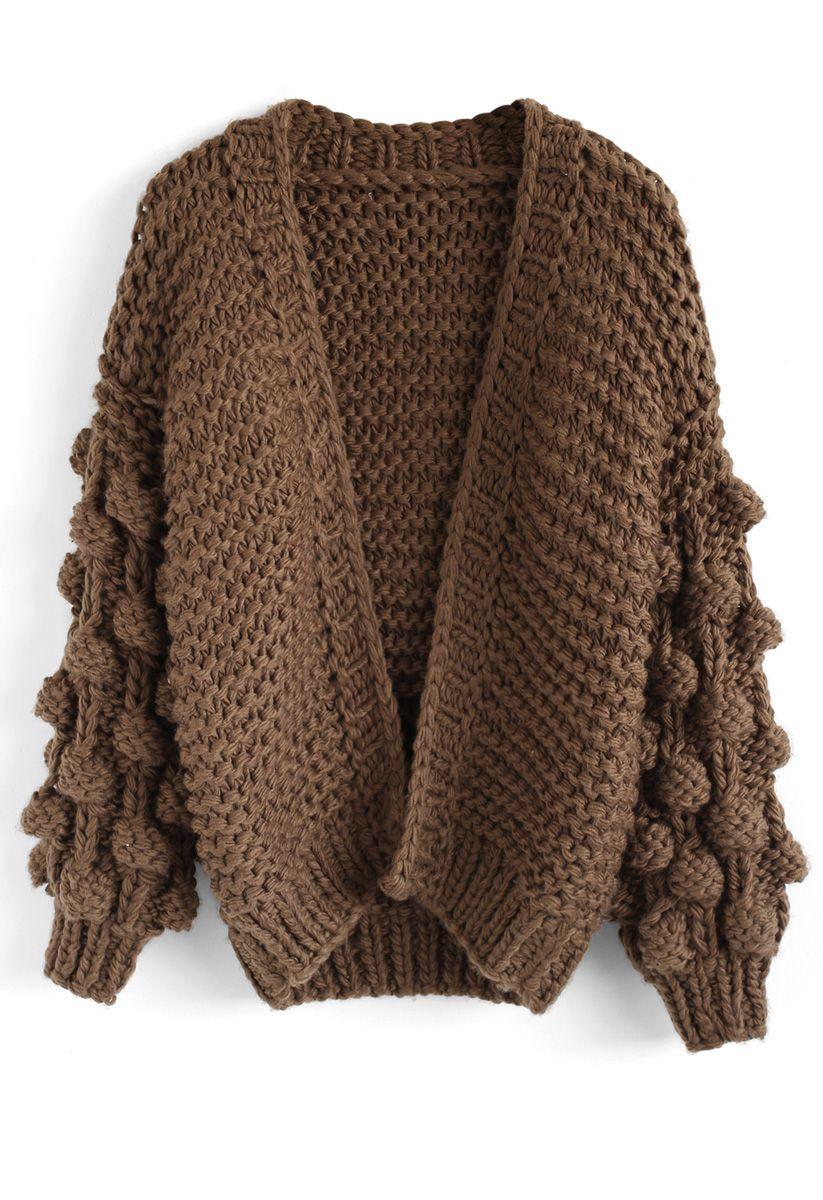 Cuteness on Sleeves Cardigan grueso en marrón