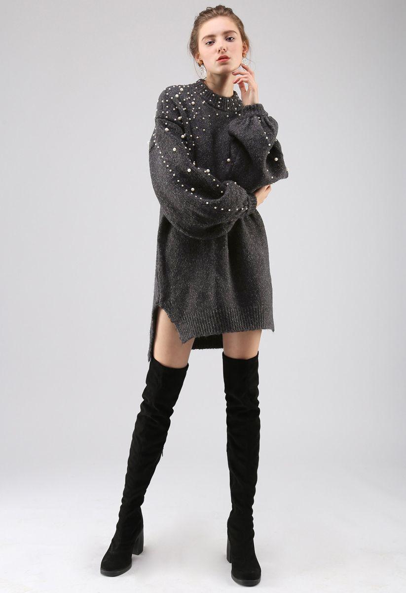 Radiant Pearls Knit Longline Sweater in Black