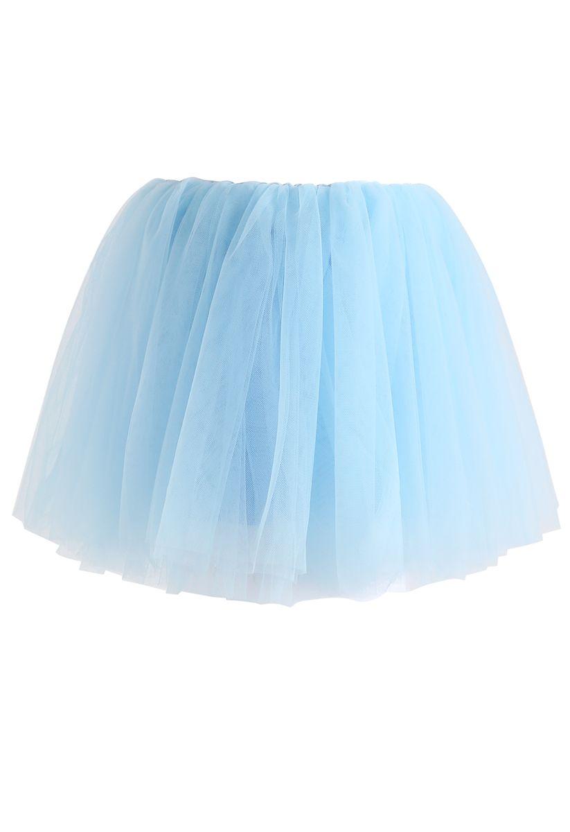 Falda de tul de malla Amore en azul bebé para niños