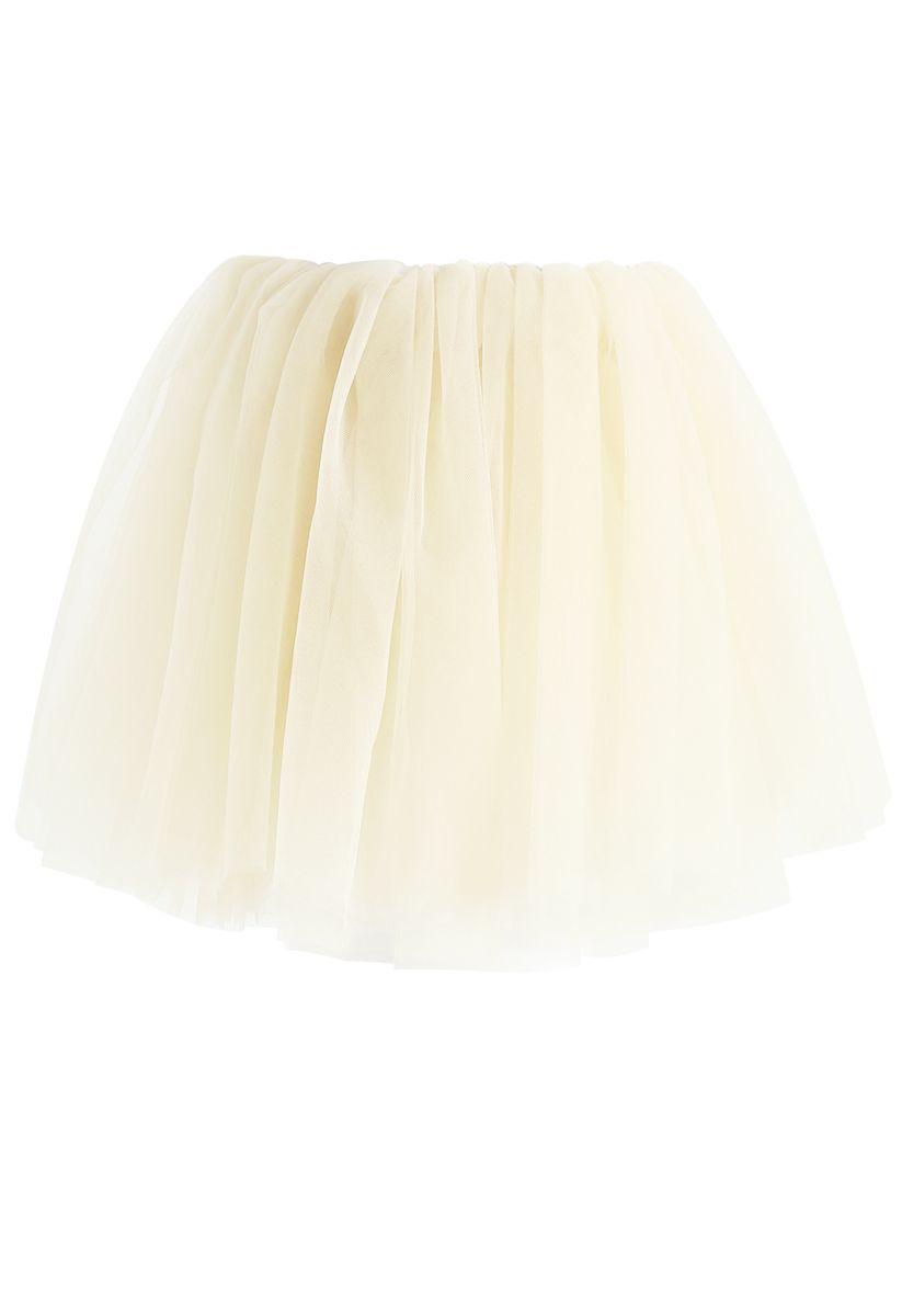 Falda de tul de malla Amore en crema para niños