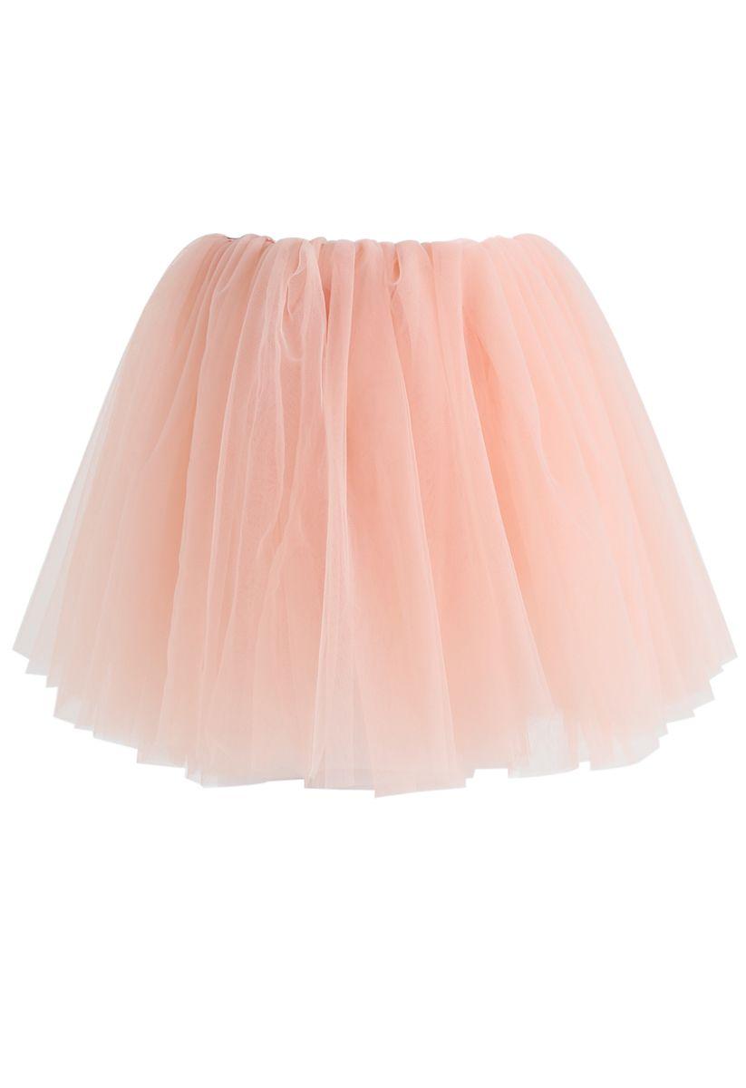 Falda de tul de malla Amore en rosa para niños