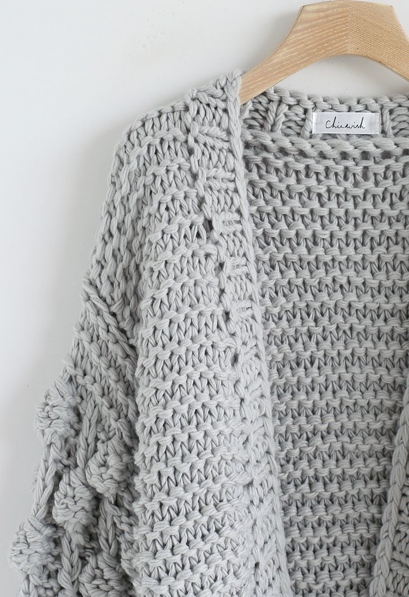 Cuteness on Sleeves Cardigan grueso en gris