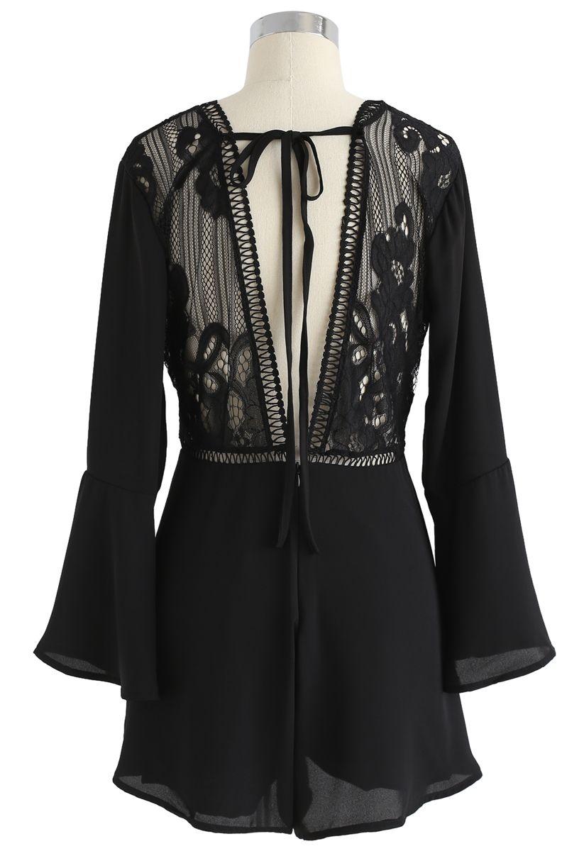 Stay Sassy V-Neck Lace Chiffon Playsuit in Black