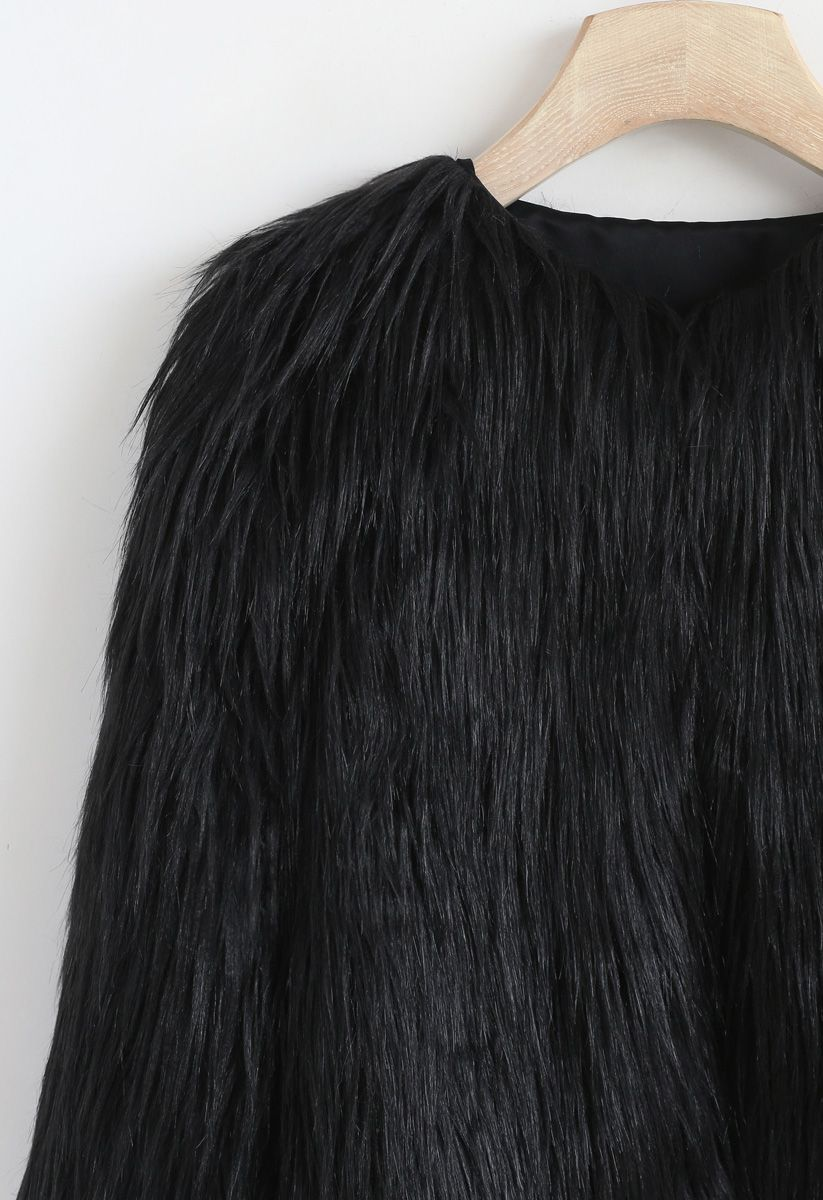 My Chic Faux Fur Coat in Black For Kids