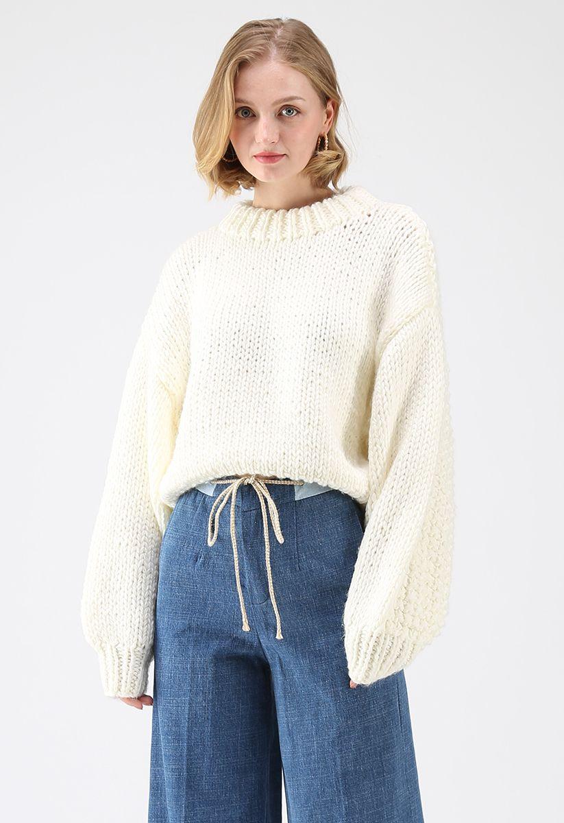 Chunky Chunky Puff Sweater recortado en blanco