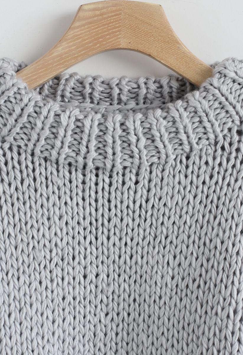 Chunky Chunky Puff Sweater recortado en gris