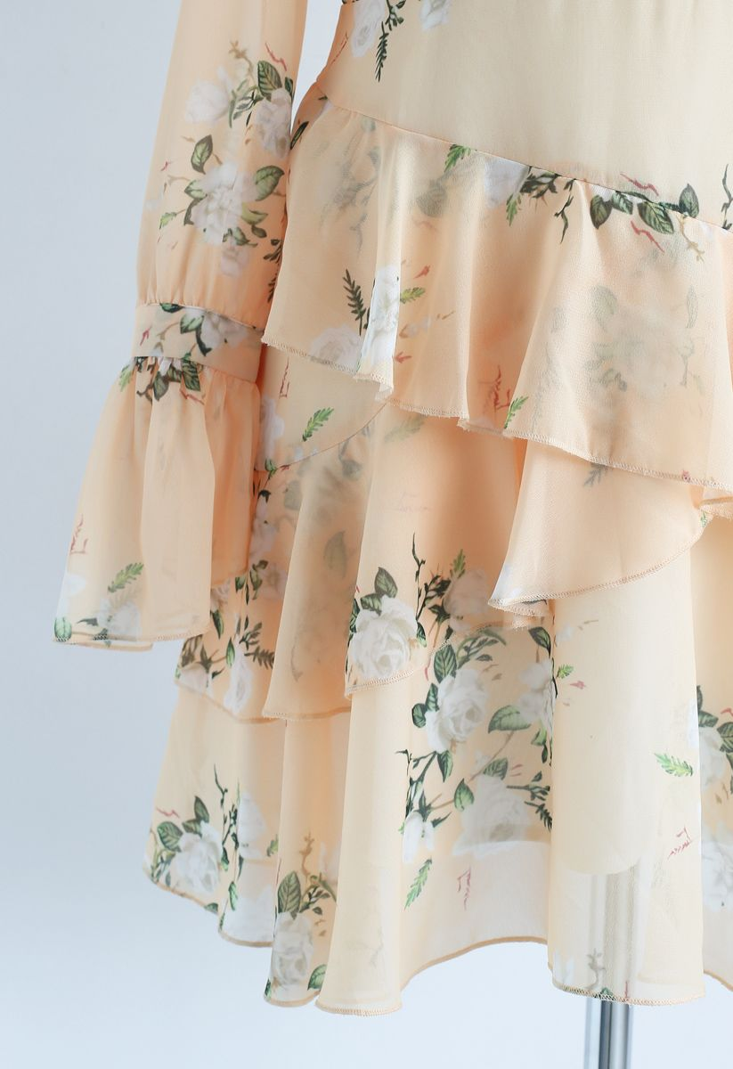 Vestido de gasa con hombros fríos de Gardenia Impress