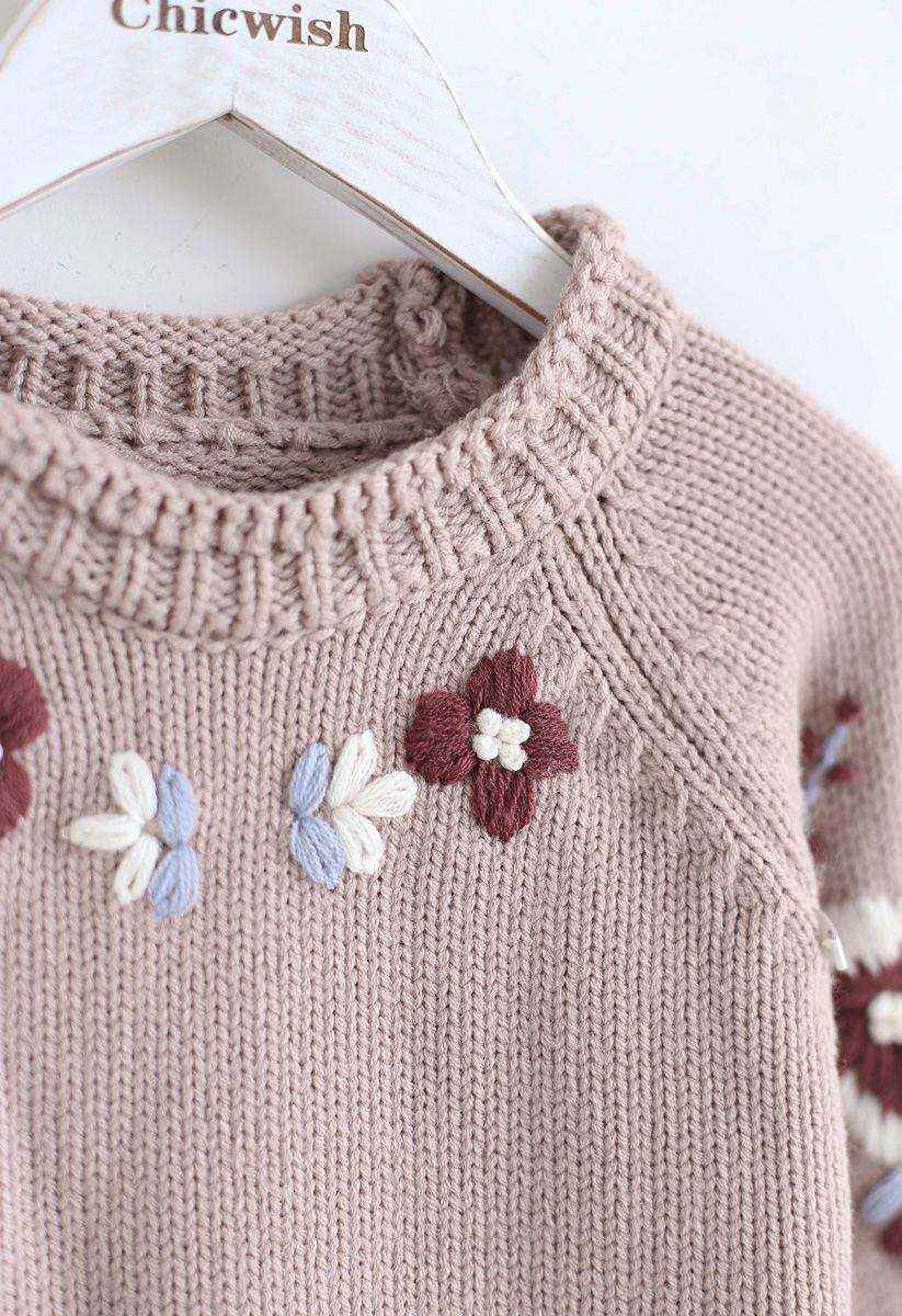Agregar más suéter bordado de flores en rosa polvoriento para niños