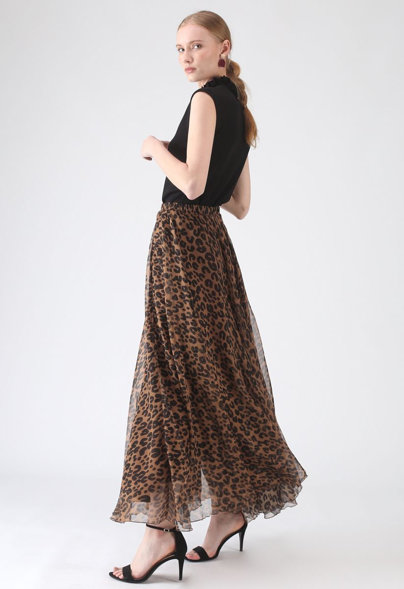 Falda Larga de Acuarela Leopardo en Marrón