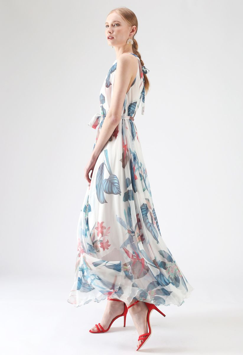 Vestido largo sin mangas floral tropical de acuarela en blanco