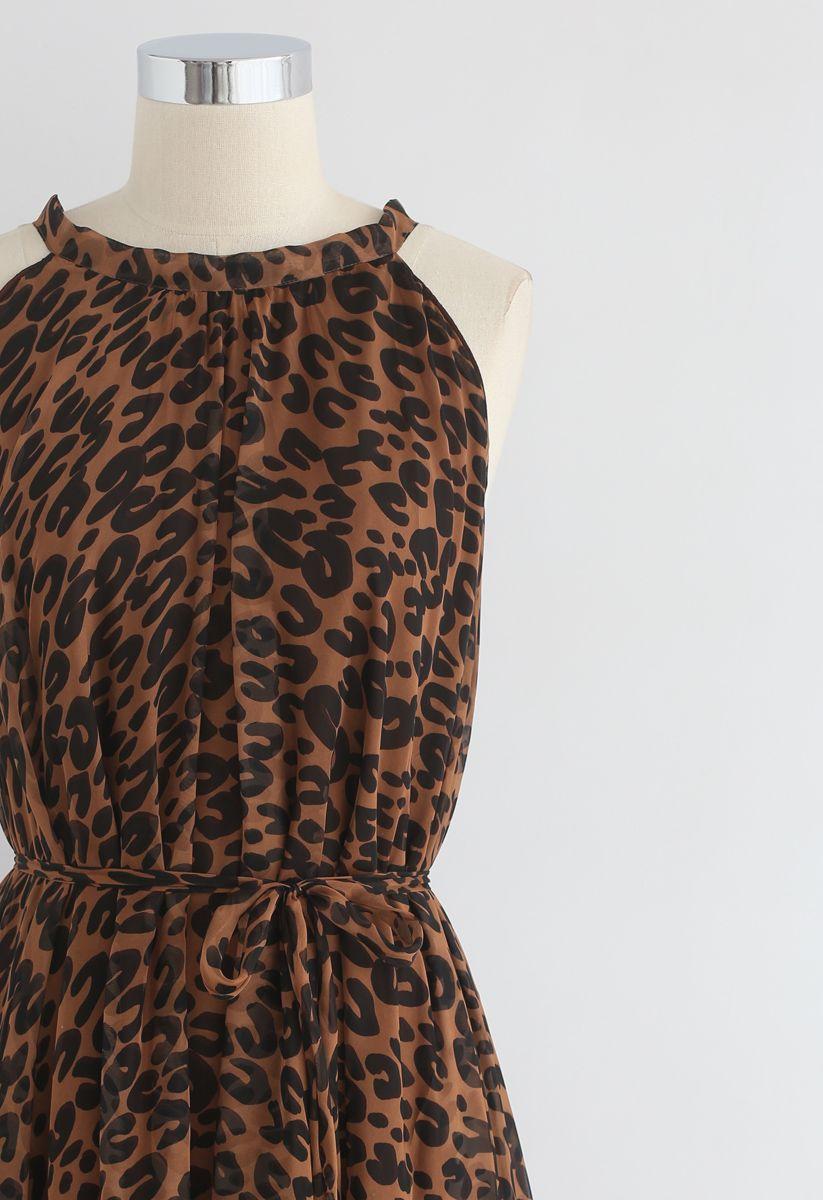 Vestido largo sin mangas en acuarela de leopardo en marrón